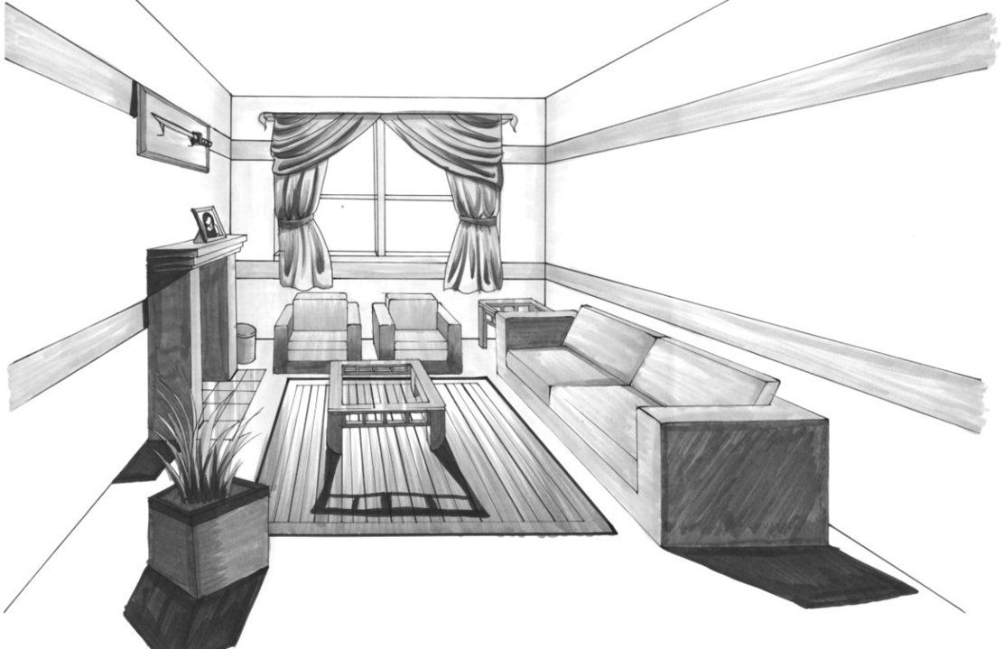 one point perspective by gerychi One point perspective