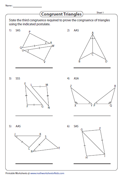 Write The Missing Congruence Property Triangle Worksheet Congruent Triangles Worksheet Teaching Geometry