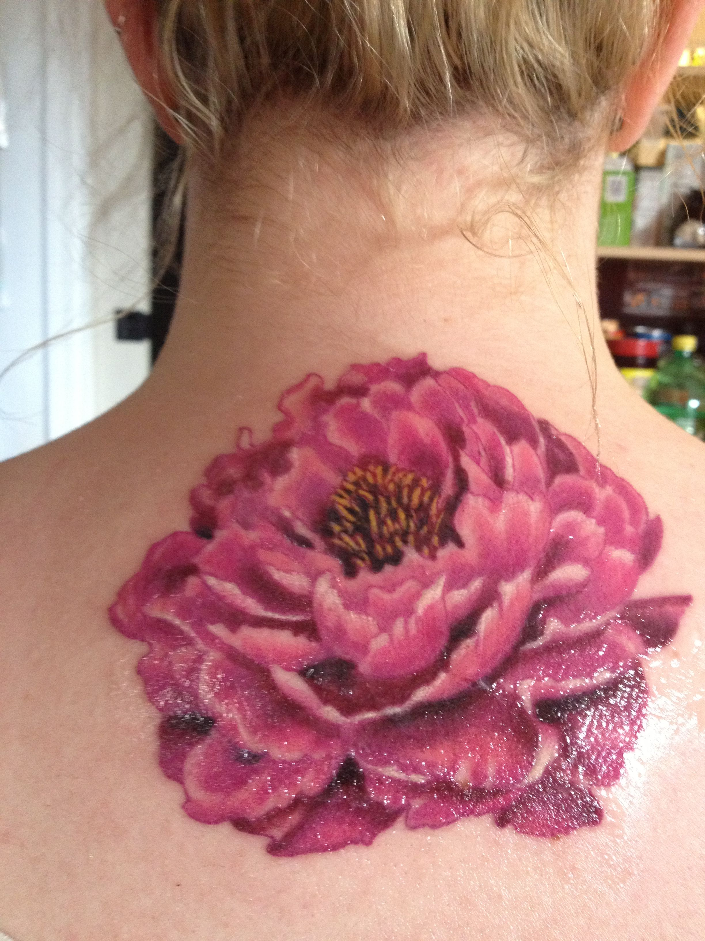 Peony tattoo done by jessica mcdermot at illuminate tattoo for Tattoo shops in mcallen