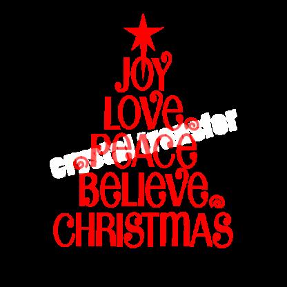 Download Joy Love Peace Believe Christmas Iron Ons Vinyl Transfers ...
