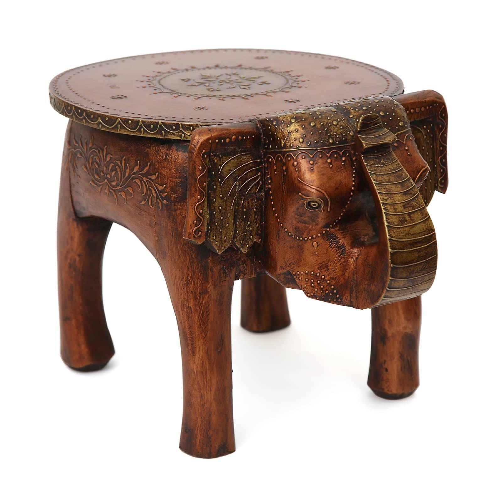 Mango Wood Carved Elephant Stool Coffee Side Table Free