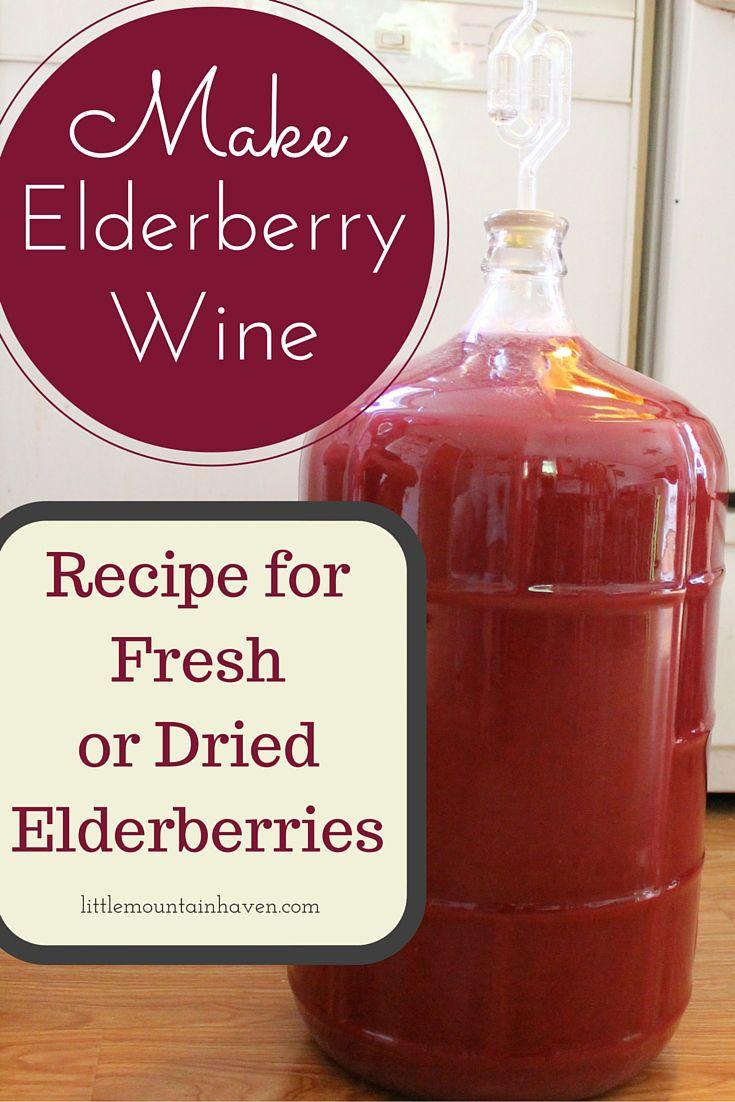 Elderberry Wine Recipe Using Fresh Or Dried Elderberries Elderberry Wine Homemade Wine Wine Recipes