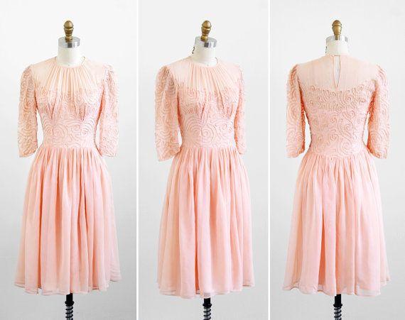 vintage 1930s dress / 30s dress / Pink Peach Ballerina Sheer Tutu Party Dress