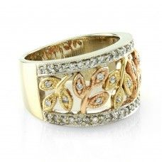 Pave' Diamond Band/ Ring with Leaf Design in Multi Colored 14K Gold