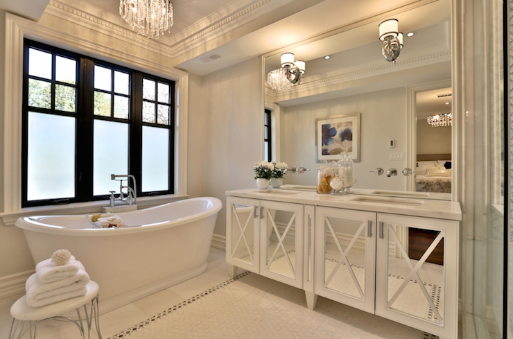 Mirrored Double Vanity Transitional Bathroom Elegant Bathroom Sophisticated Bathroom Beautiful Bathrooms
