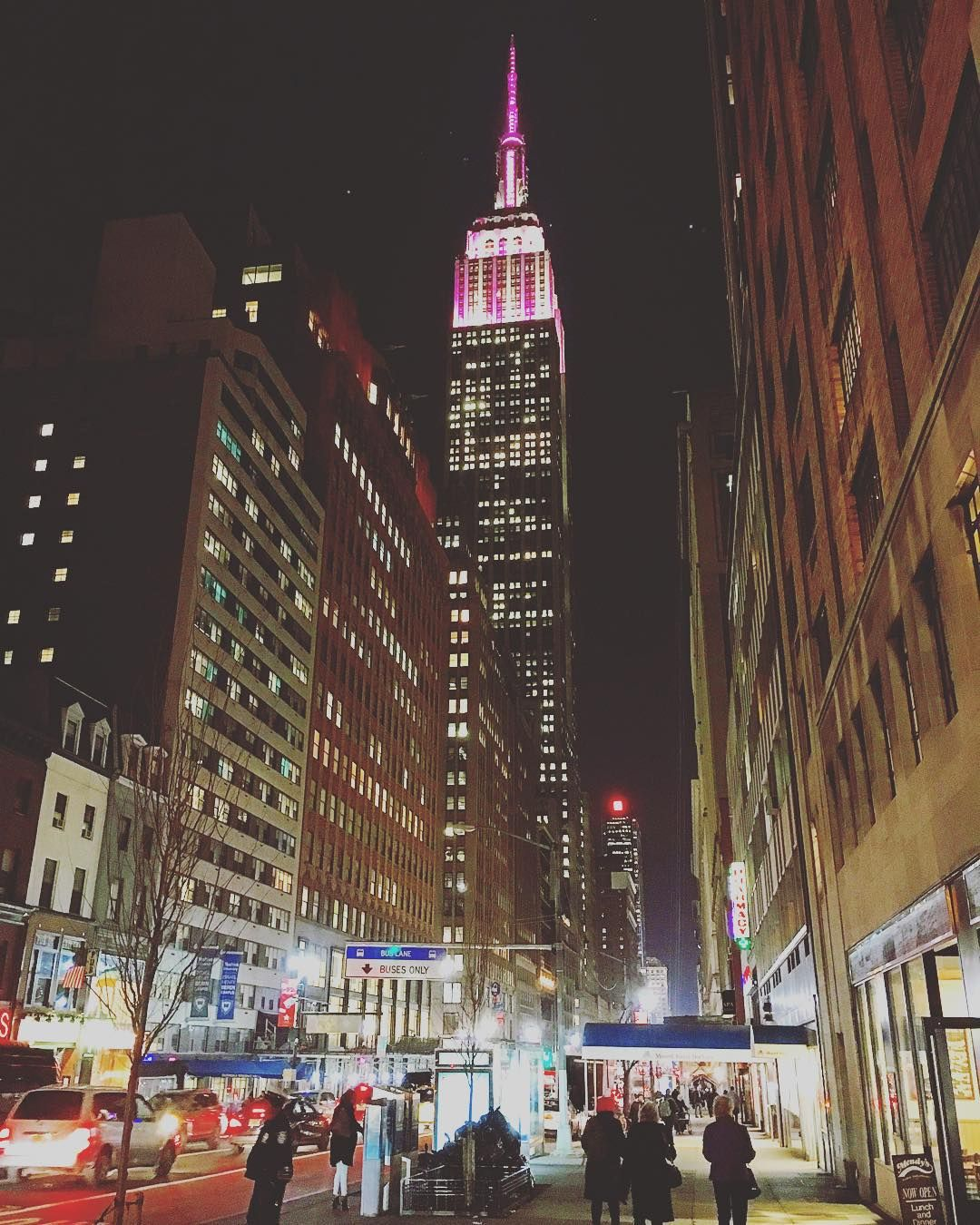 """pictures_of_newyork: """"The Empire State Building is pink & white stripes for the 20th Annual Victorias Secret Fashion Show.  #picturesofnewyork"""""""