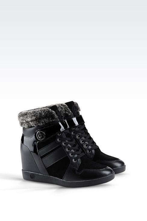 Armani Jeans Women HIGH TOP SNEAKER IN LEATHER WITH WEDGE, Bovine - Armani .com