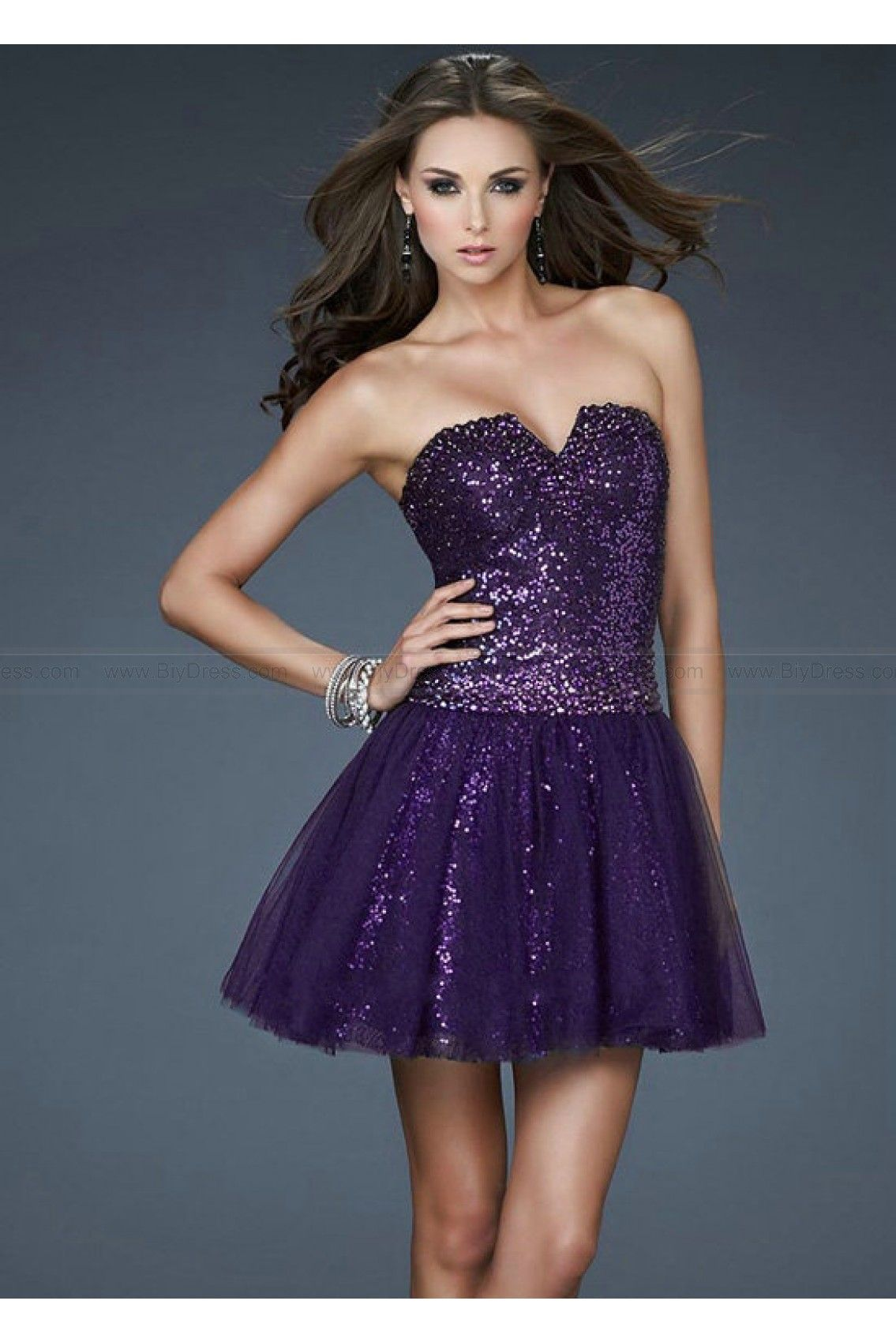 Tailor Made Sequin 2014 Tulle Grape Cocktail Dresses