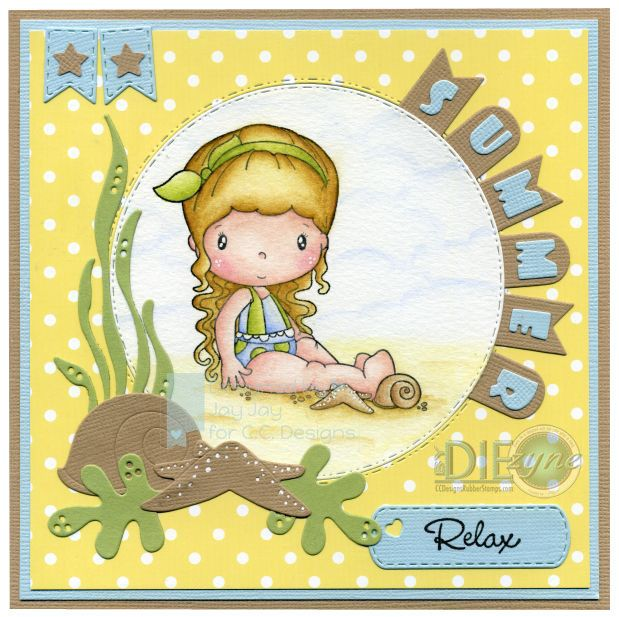 Swiss Pixie Summer, AmyR Stamps Pool Party, C.C. Cutters Mini Banners Die, C.C. Cutters Mini Alpha & Numbers Die, C.C. Cutters Starfish & Shell Die, C.C. Cutters Make A Card #2 Dies, C.C. Cutters Make A Card #3 Dies, By DIEzyne Double Circles Dies