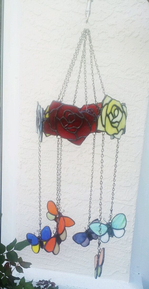 Stained Glass Butterflies/Roses Mobile A by Stainedglasslove, $55.00