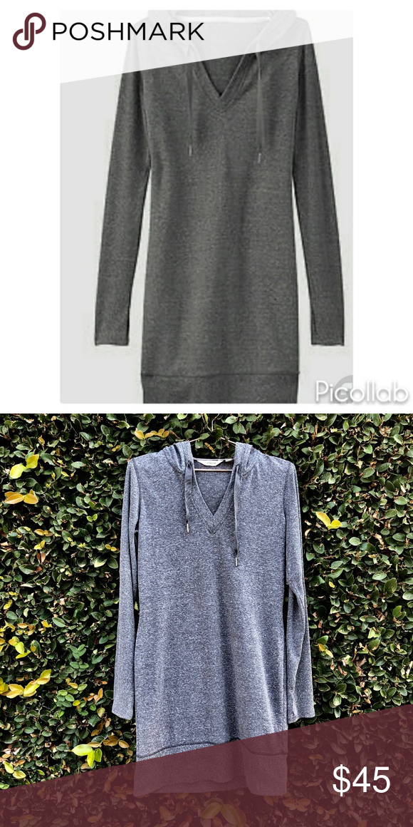 0b752e50d623  Athleta  Dark Heathered Grey Bliss Hoodie Dress Athleta dark heathered  grey hoodie sweatshirt dress with thumbholes