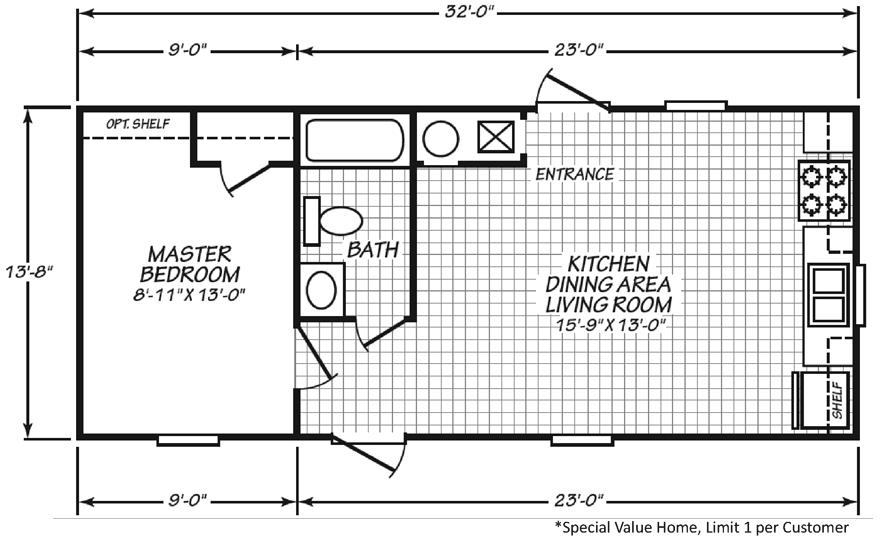 Micro 14 X 32 437 Sqft Mobile Home Factory Expo Home Centers Mobile Home Floor Plans Mobile Home Cabin Plans