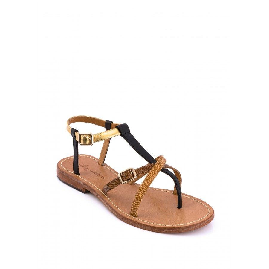 sandale plate samartine noir et doré - sandales plates