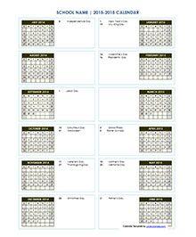 Monthly School Calendar Landscape Format  Homeschool Organization