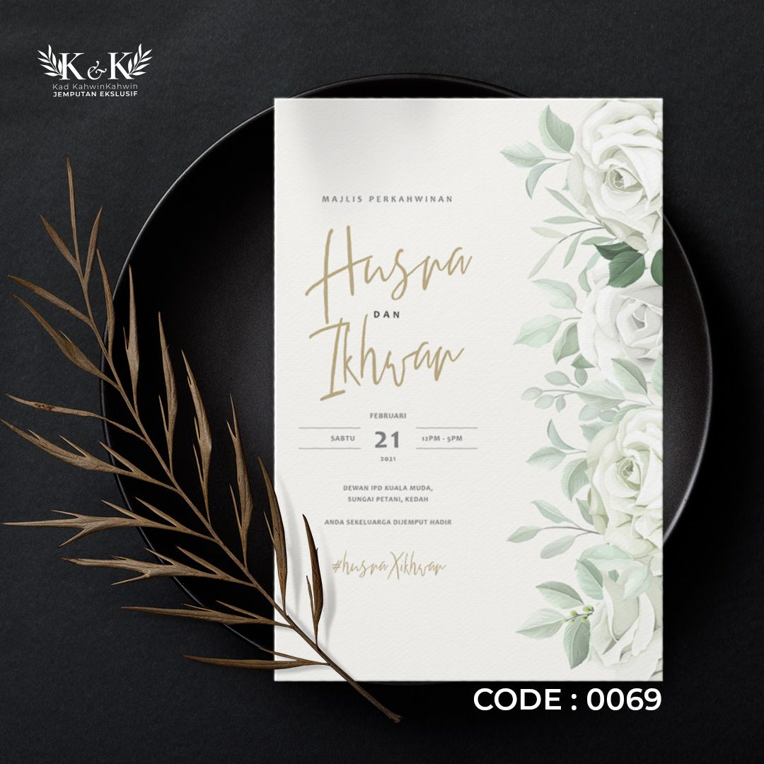 0069 Design Kad Kahwin By Kad Kahwinkahwin Kad Kahwin Floral Minimal Modern Design Book Cover Kad Kahwin