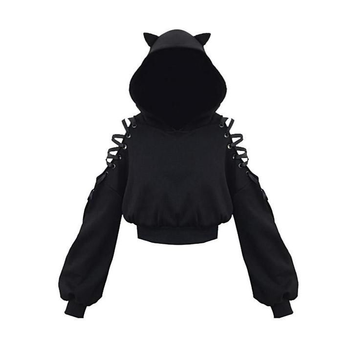 Cat ears lace up short hoodie black ropa gotica mujer