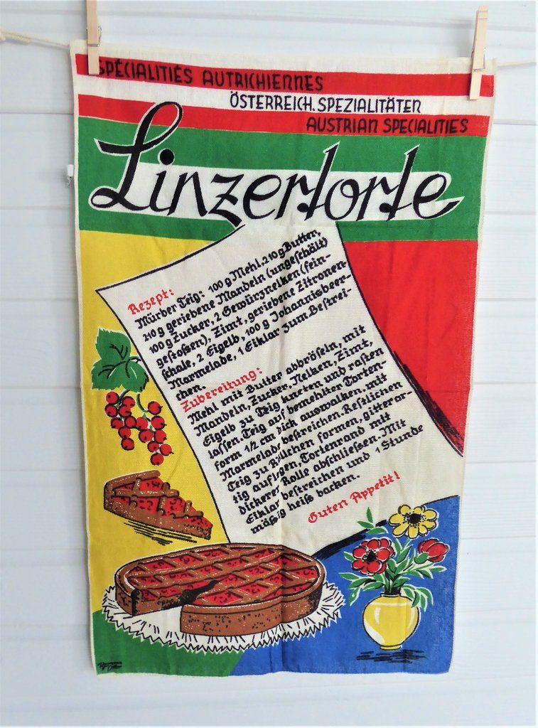 Tea Towel Austrian Linzer Torte Recipe Dish Towel 1980s Linen German Silver Cloth #dishtowels