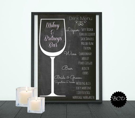 Wedding Drink Menu-Wedding Bar menu-Chalkboard-Reception-Digital ...
