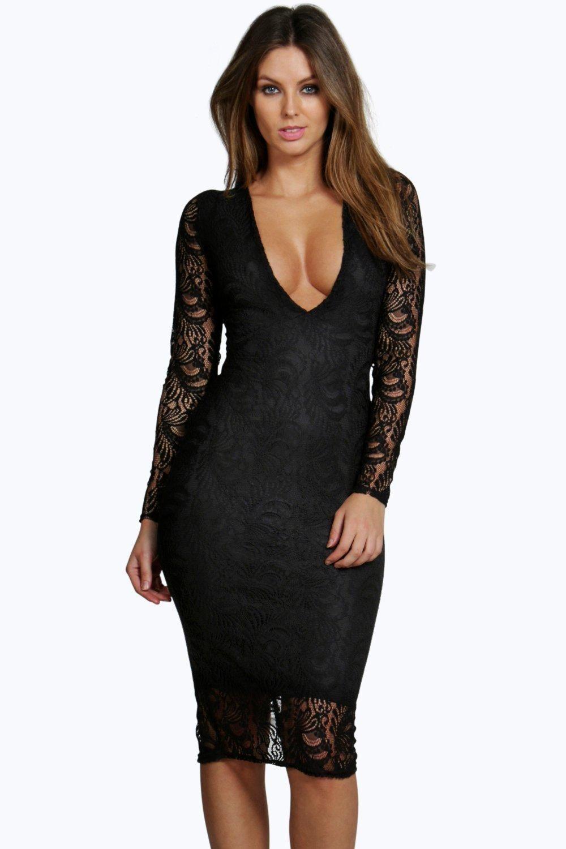 Sia Lace Long Sleeve Plunge Bodycon Midi Dress Boohoo Uk Plunge Bodycon Dress Bodycon Dress Black Long Sleeve Dress