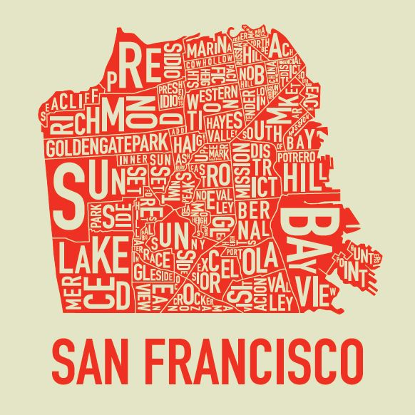 San Francisco Map Saw this poster at Park Life a galleryshop in