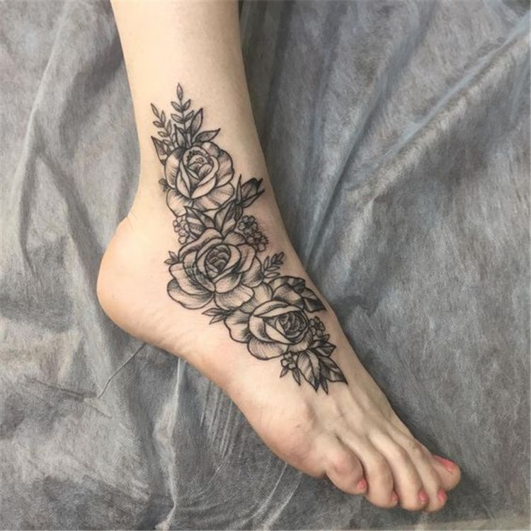 40 And Stunning Ankle Floral Tattoo Ideas For