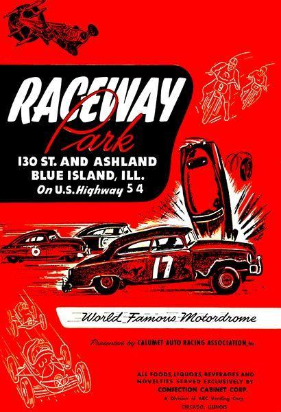 Aurora Stadium Speedway 1950 Hot Rod Races Program Cover Poster