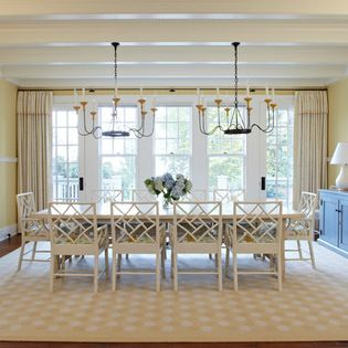 This Is My Study Of Two Chandeliers Over A Long Table But Look At
