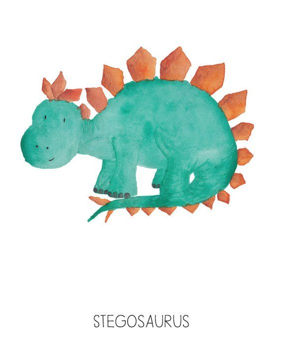 6 Dinosaurs Watercolor Prints Nursery Room or Playroom art