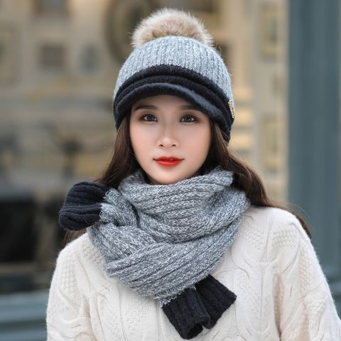 Womens peaked beanie hat and scarf set for winter fleece pom pom knit hats 571052dbc67