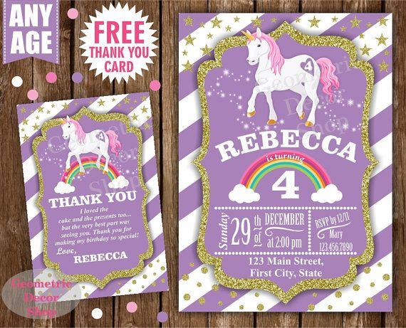 Printable Rainbow Birthday Invitations ~ Unicorn birthday invitation purple invitations girl invite pink