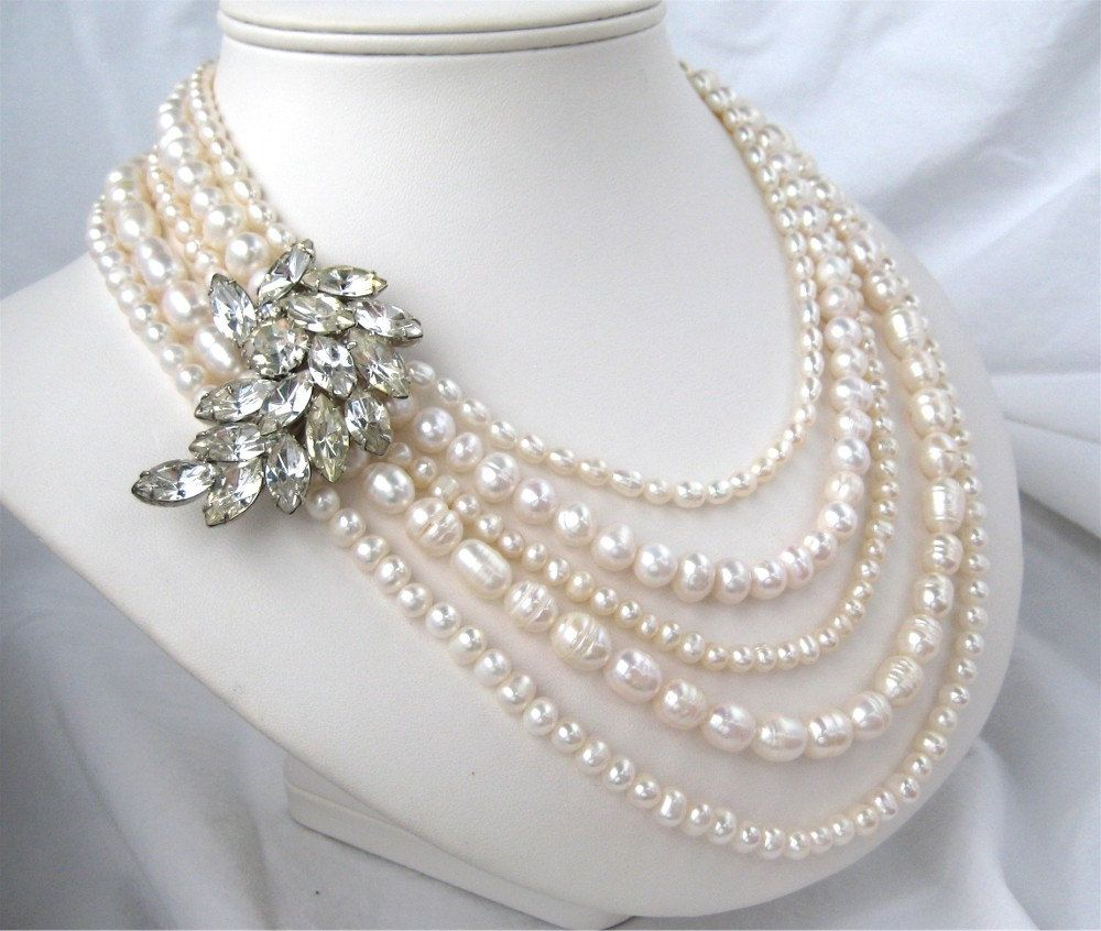 Pearl Jewellery Necklace >> 5 Strand Freshwater Pearl Necklace Vintage Rhinestone Wedding