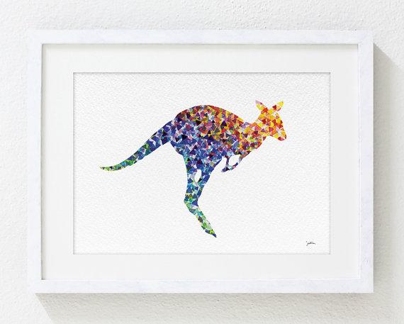 Colorful Geometric Art - Kangaroo Watercolor Painting - 5x7 Archival Print - Animal Wall Art Wall Decor Housewares, Home, Gifts