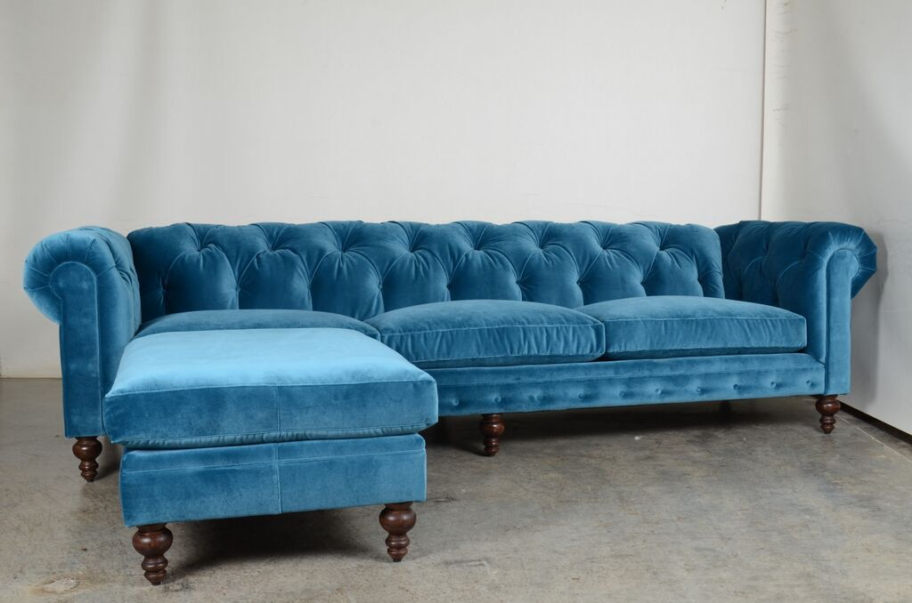 Stunning new peacock blue sofa Soho Chesterfield Tufted Sofa with Chaise Ottoman JB Martin