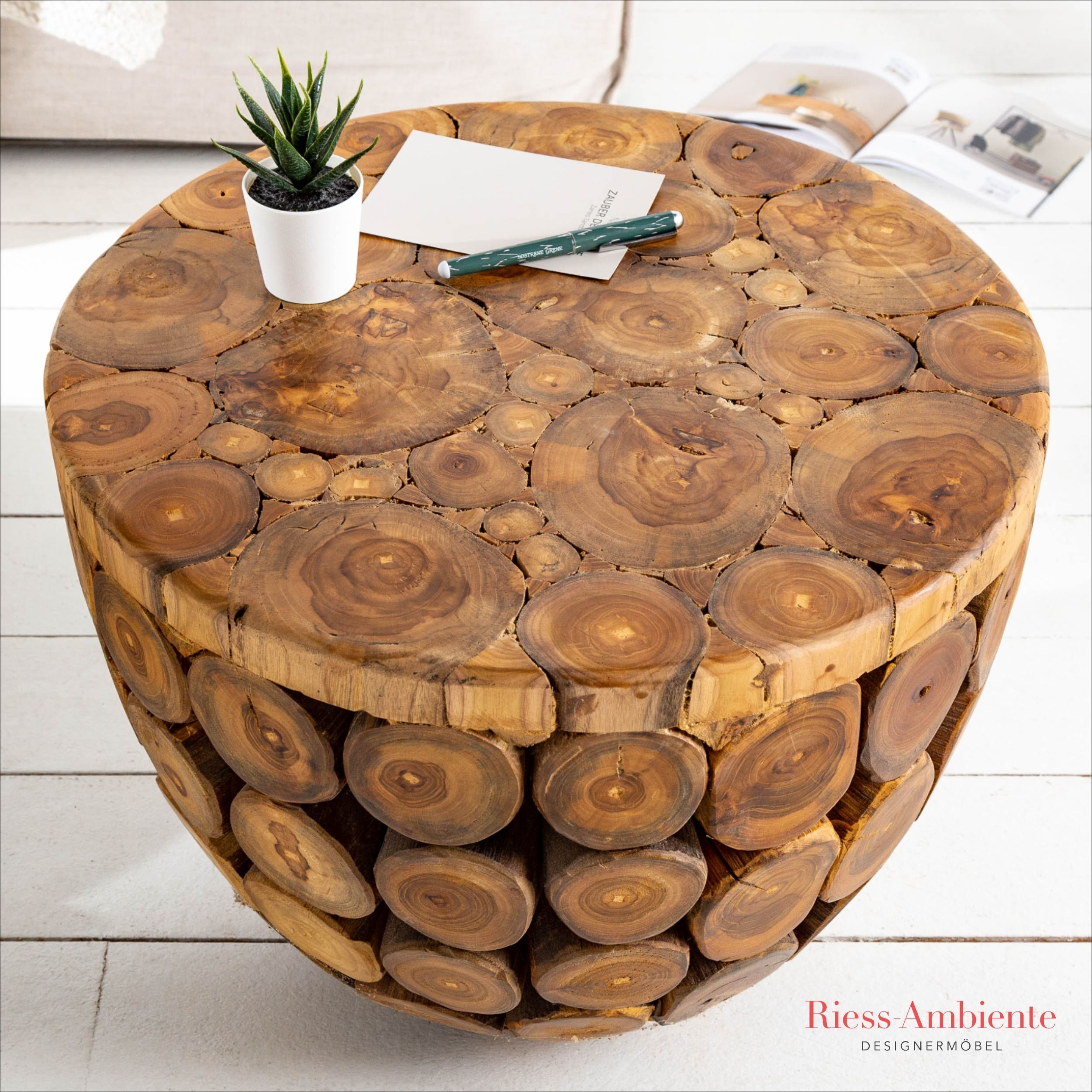 Handgearbeiteter Couchtisch Pure Nature 50cm Teakholz Teak Holz Teak Teakholz