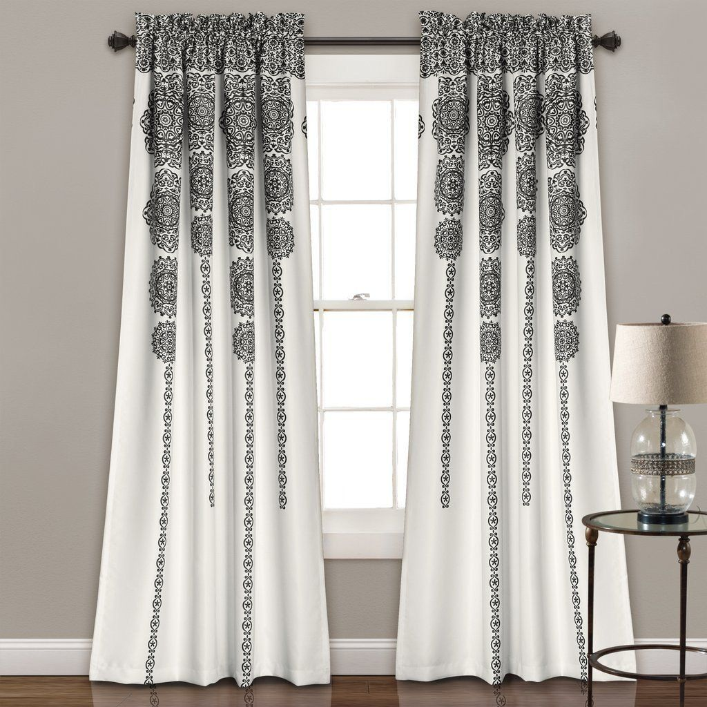 Sabine Boho Black Gray Mandala Curtain Set Room Darkening