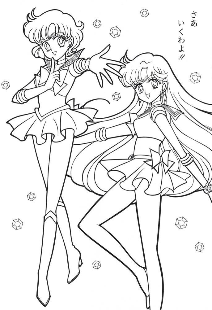 Sailor Moon Series Coloring Pages: Sailor Mercury and Sailor Mars ...