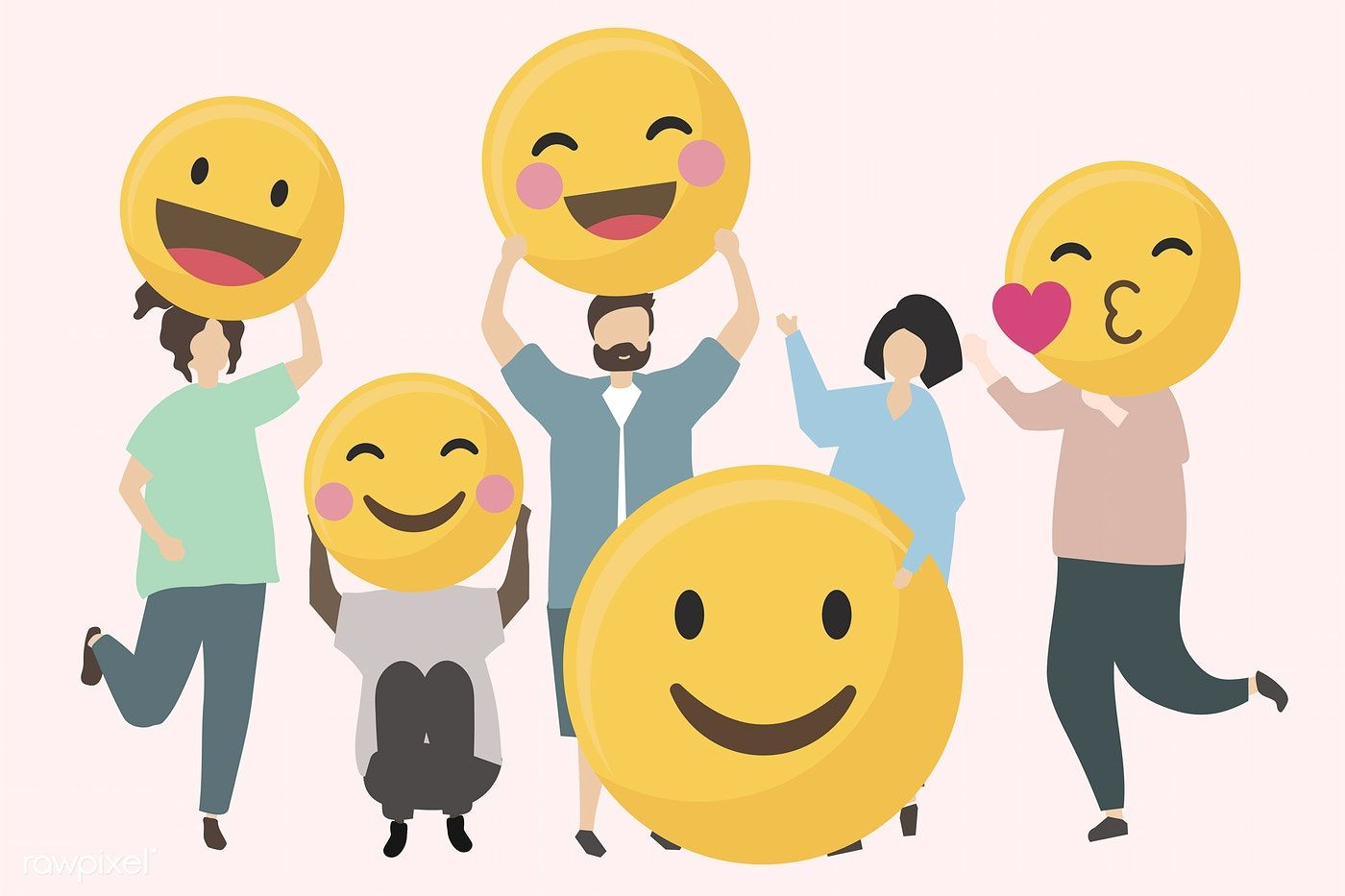 People With Funny And Happy Emojis Illustration Free Image By Rawpixel Com Happy Emotions World Emoji Day Emoji