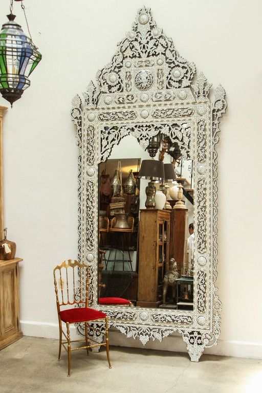 19th Century Palatial Middle Eastern Syrian White Inlay Mirror Image 8