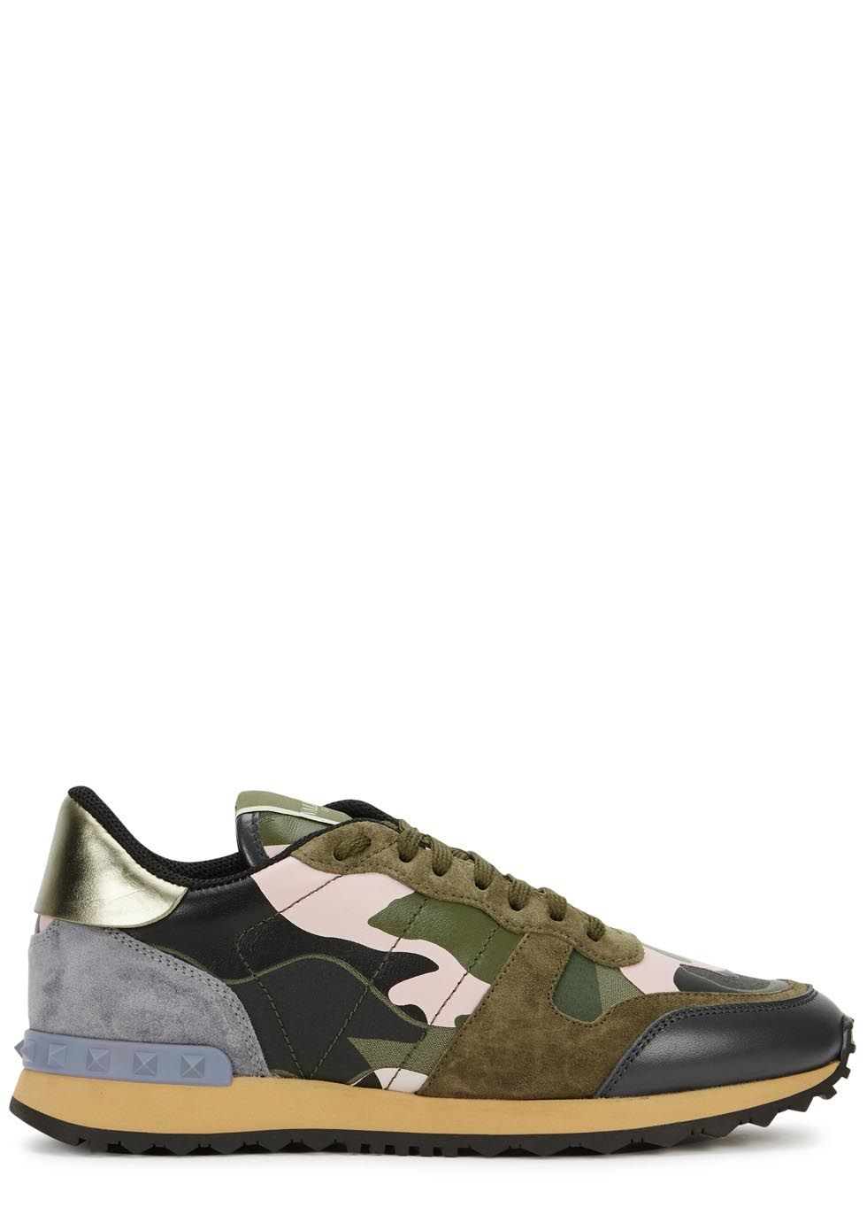 f07bd81b5 Valentino multicoloured canvas trainers Camouflage-print leather overlay,  blue studded rubber heel strip,
