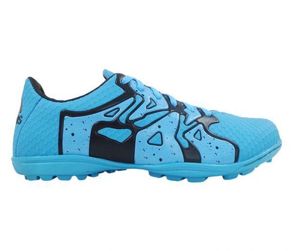 Chuteira Society Adidas X 15.4 Azul Bebê e Preto - Cabedal confeccionado em material sintético. Conta com fechamento em cadarço e etiqueta interna. Traz o logotipo da marca na língua, parte traseira e solado. Forro sintético com com reforço ...