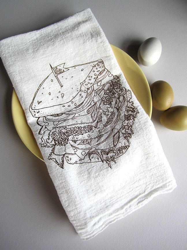 Perfect Screen Printed Organic Cotton Deli Sandwich Flour Sack Tea Towel   Awesome Kitchen  Towel For Dishes Amazing Ideas