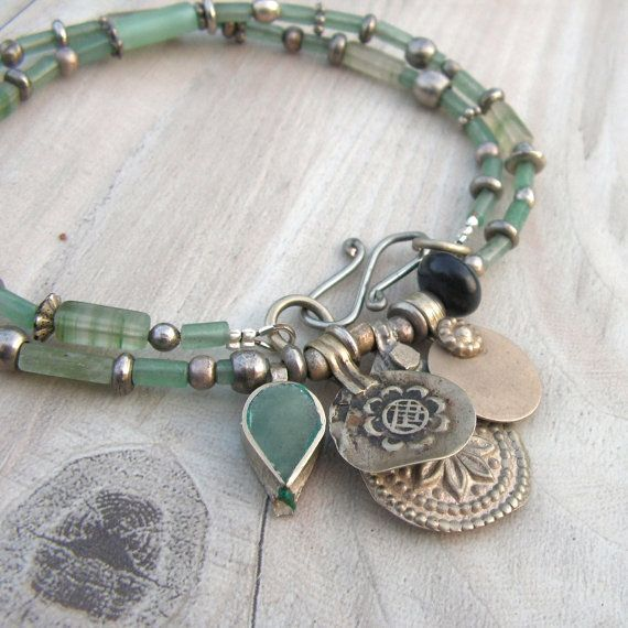 Nomadic Talisman Necklace  Persian Mint  Tribal Gypsy Coin Jewelry Pale Gree  Necklaces
