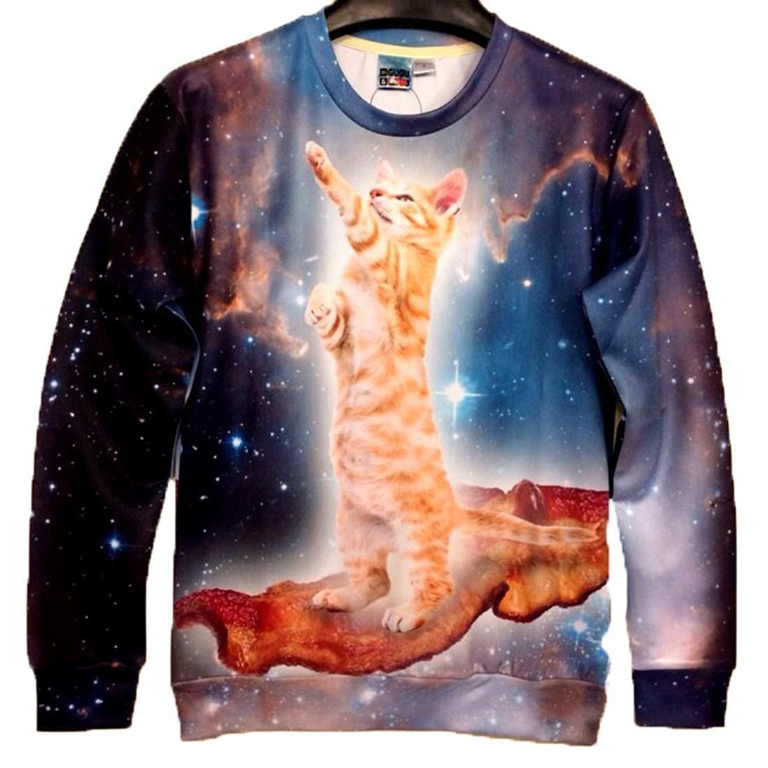 Kitty Cat Riding On Bacon In Space All Over Print Unisex Pullover Sweatshirt Sweatshirts Galaxy Sweatshirt Sweatshirts Hoodie [ 1100 x 1100 Pixel ]