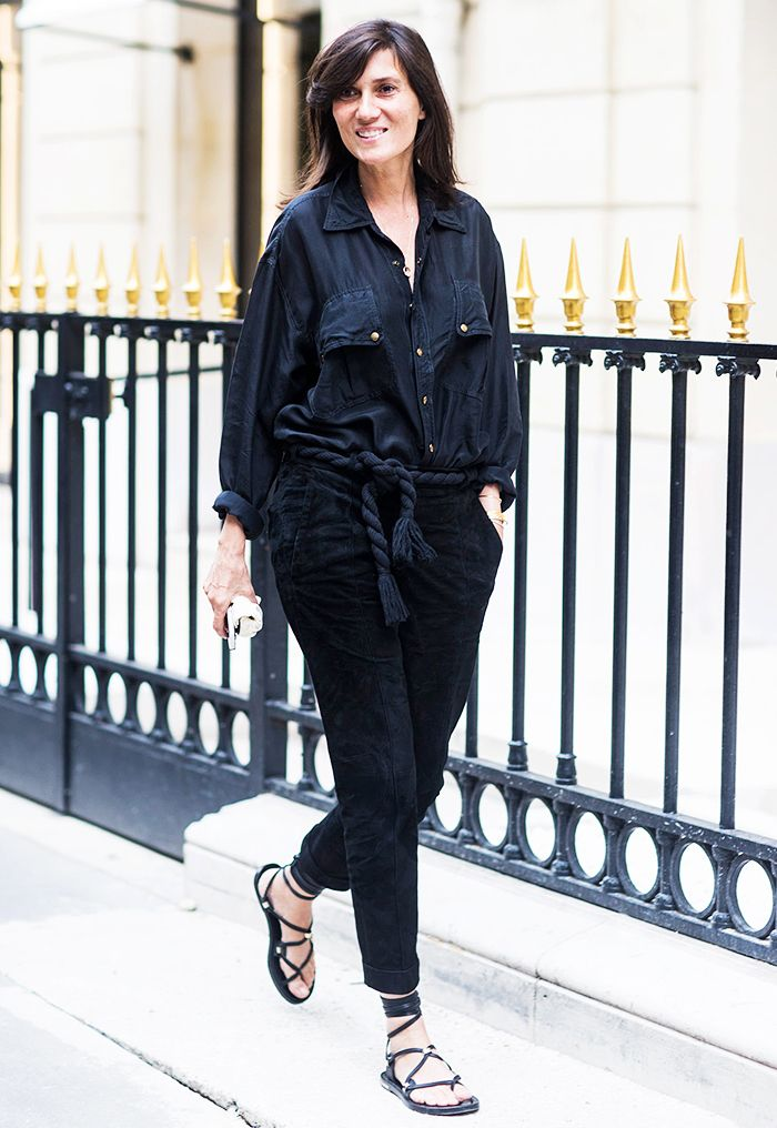 Emmanuelle Alt // washed silk utility shirt, rope belt, cropped pants & lace-up sandals #style #fashion #streetstyle #transitional #fallstyle