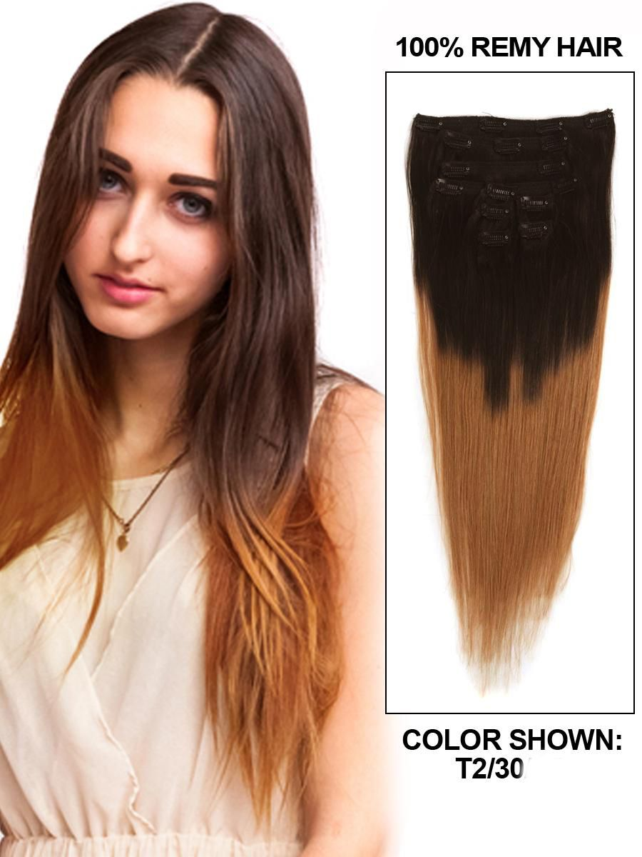 7a Best Quality Straight Ombre Clip In Brazilian Hair Extensions