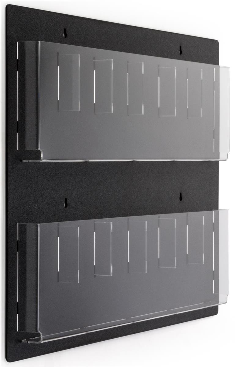 2 Tiered Acrylic Literature Wall Rack 4 8 5 W 6 12 Adjustable Pockets Black Brochure Holders Wall Racks Brochure Display