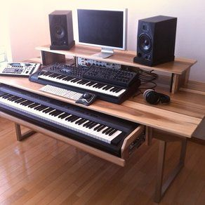 Custom Made Audio Video Production Desk W Keyboard Workstation Shelf And Rack Units