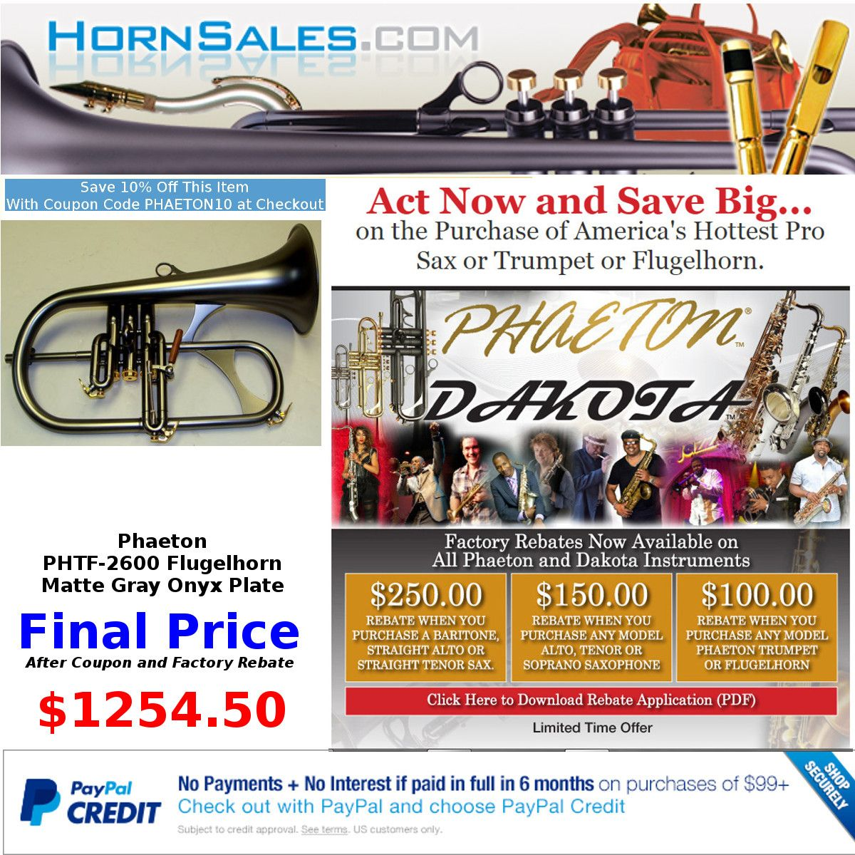 SAVE BIG! Get The Phaeton PHTF-2600 Professional Flugel Horn for our Lowest Price of teh year when you combine our Holiday Coupon and Factory Rebate.  Free Shipping in the CONUS. Plus Make No Payents and Pay No Interest if Paid in Full in 6 Months using PayPal Credit...ONLY at Hornsales.com http://hornsales.com/store/p/54-Phaeton-PHTF-2600-Black-Onyx-Plated-Professional-Flugelhorn.aspx