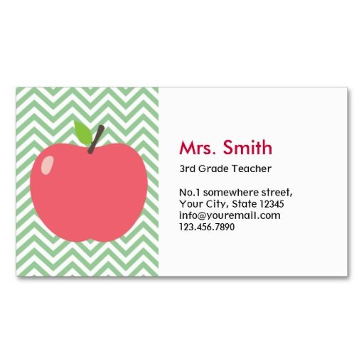 Cute Apple Green Chevron Teacher Business Card Teacher Business - Teacher business card template