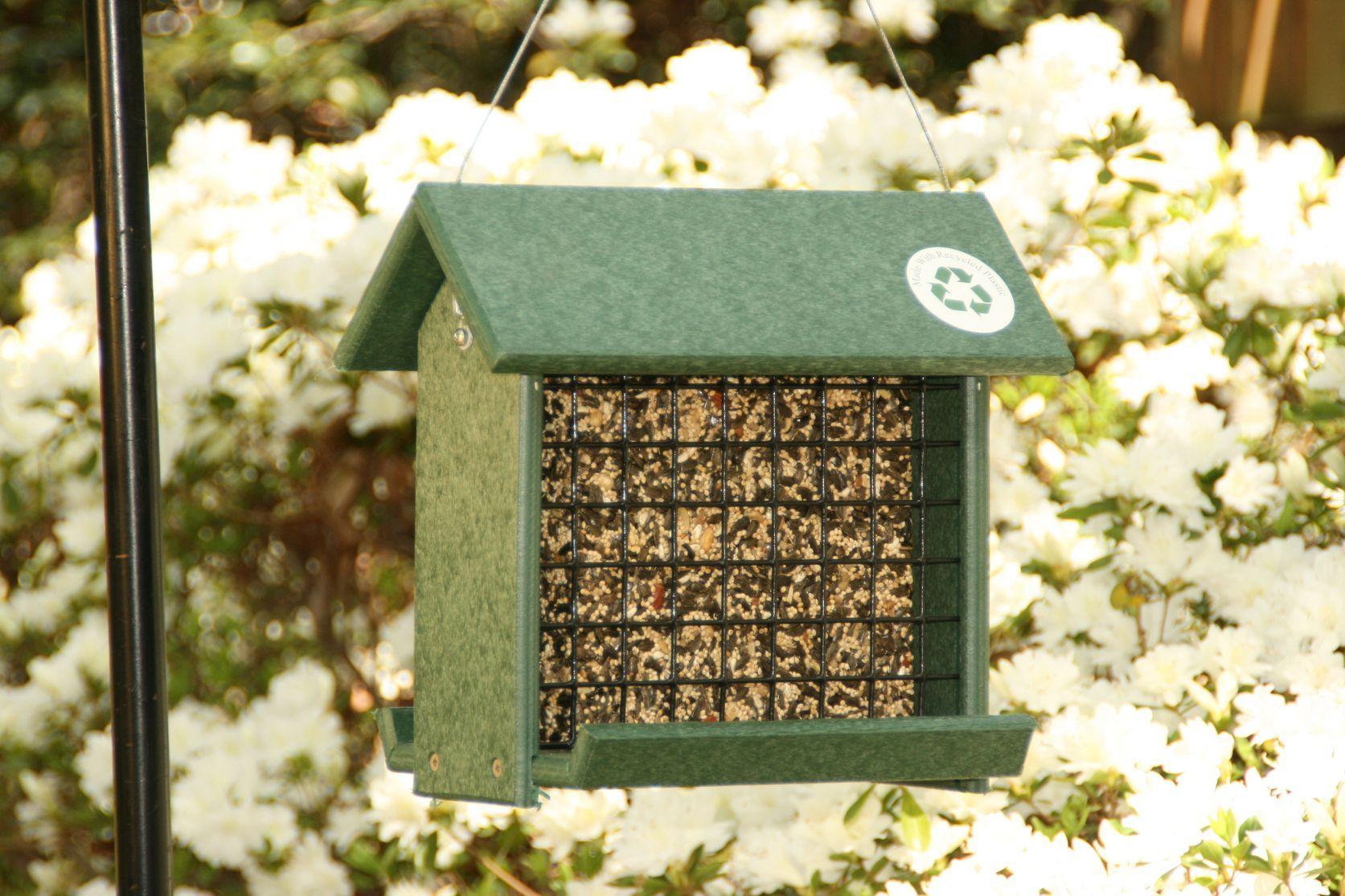 Go green woodpecker feeder holds 3 suet cakesblocks